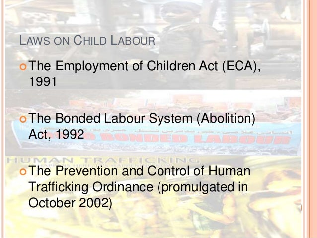 Child Labour Acts And Laws Laws on Child Labour the