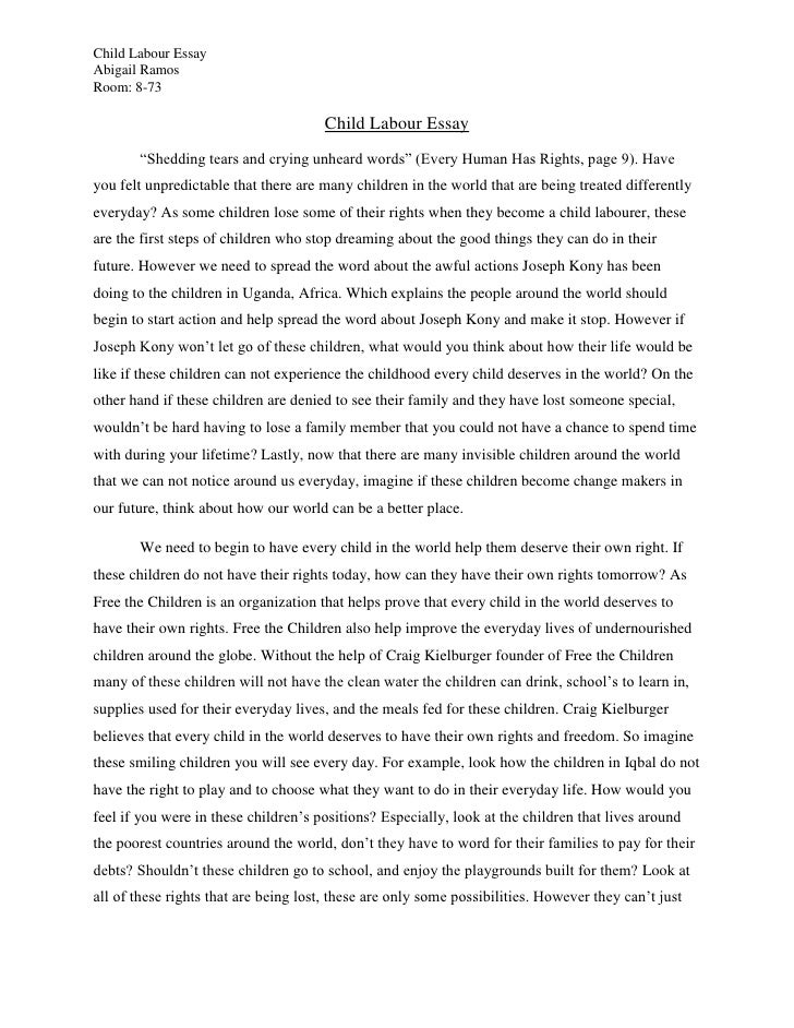 write a essay on child labour - 729 words essay on Child Labour (Free ...