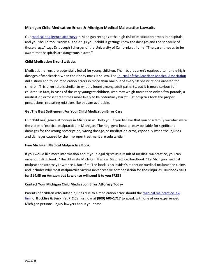 Michigan Child Medication Errors & Michigan Medical Malpractice LawsuitsOur medical negligence attorneys in Michigan recog...