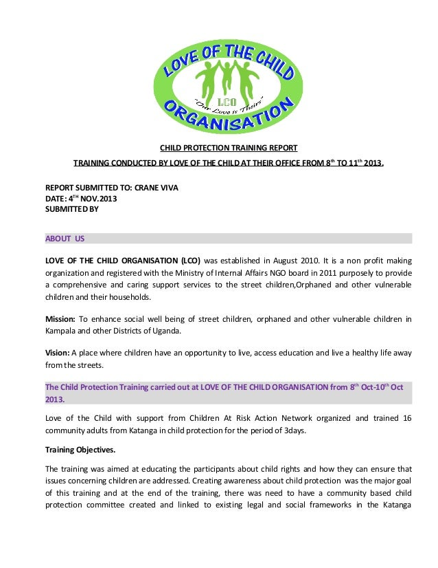Child protection training report ..