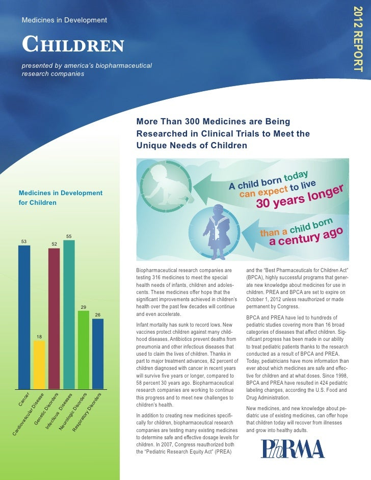 2012 Report     Medicines in Development     Children     presented by america's biopharmaceutical     research companies ...
