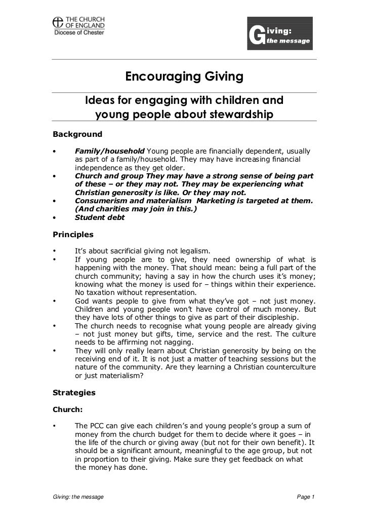 Encouraging Giving            Ideas for engaging with children and              young people about stewardshipBackground• ...