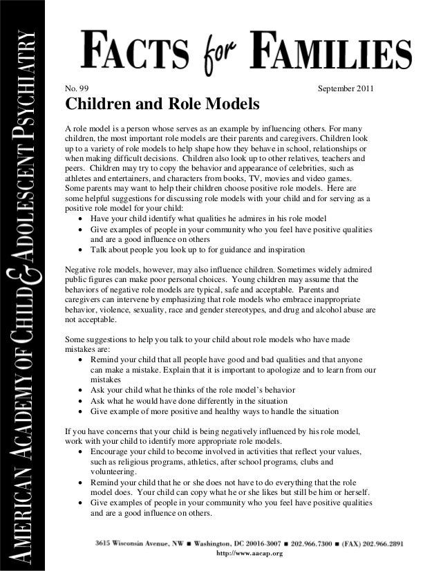 No. 99                                                                   September 2011Children and Role ModelsA role mode...