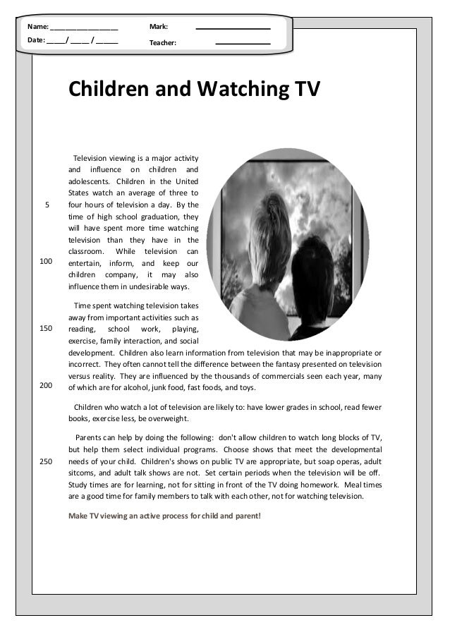 Children and watching tv (reading comprehension)