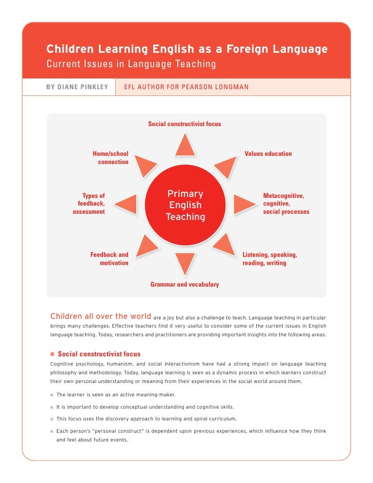 Children Learning English as a Foreign Language Current Issues in Language Teaching  BY DIANE PINKLEY                EFL A...
