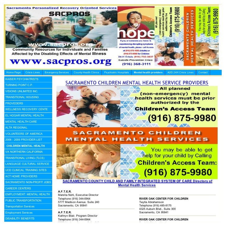 Hom e Page     Crisis Lines   Em ergency Services   County Health Clinics   Psychiatric Hospitals   Mental health provider...