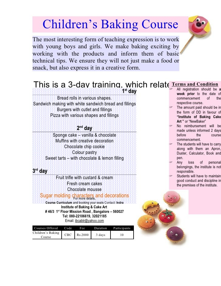 Childrens baking course