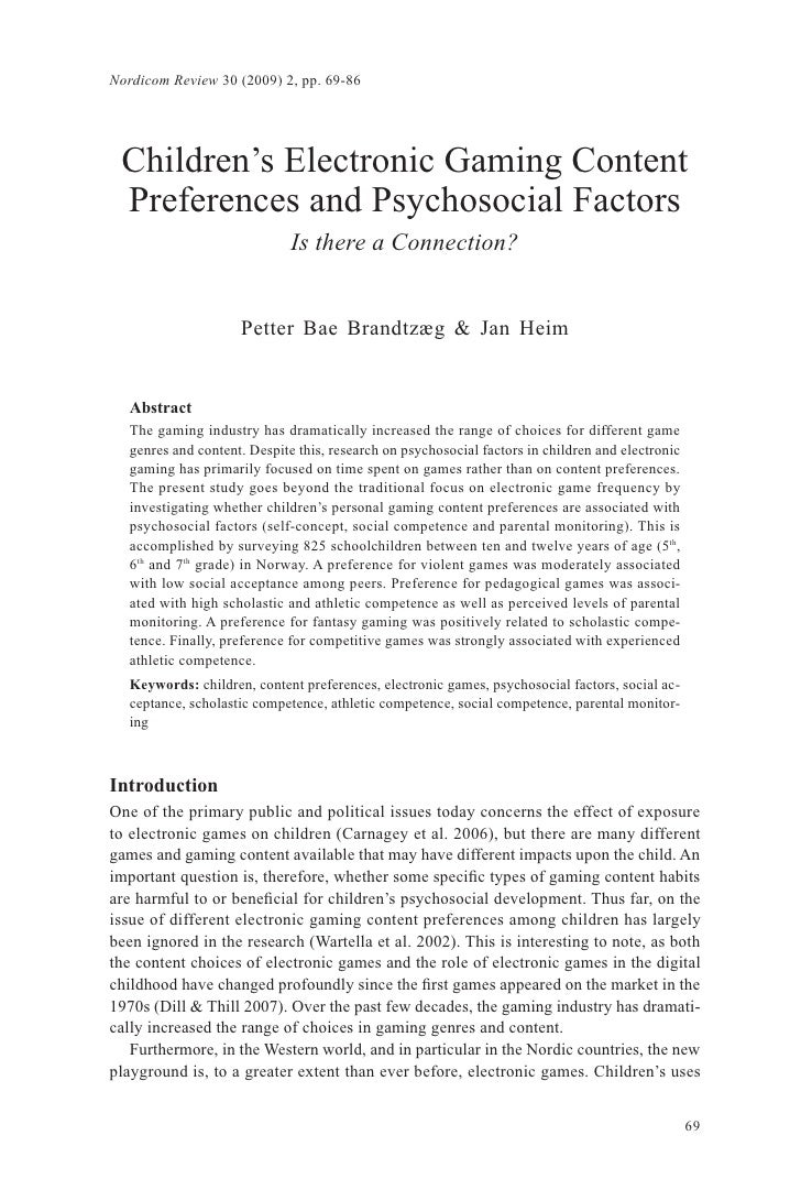 Childrens Electronic Gaming Content Preferences And Psychosocial Factors