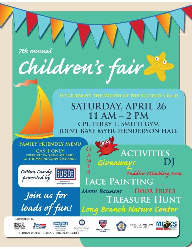 Children's fair TO CelebratE the Month of the Military Child SATURDAY, APRIL 26 11 AM – 2 PM cpl terry l. smith gym joint ...