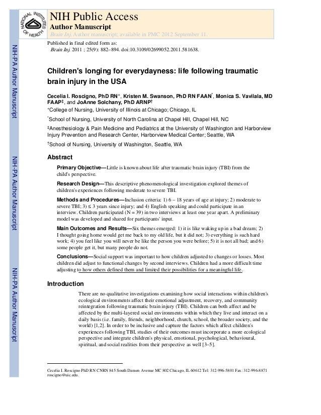 NIH Public Access Author Manuscript Brain Inj. Author manuscript; available in PMC 2012 September 11.  NIH-PA Author Manus...