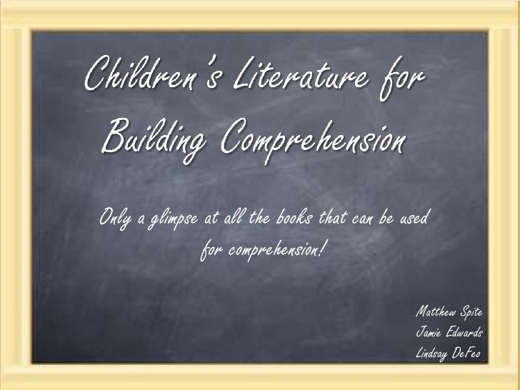 Children's Literature for Building Comprehension<br />Only a glimpse at all the books that can be used for comprehension! ...
