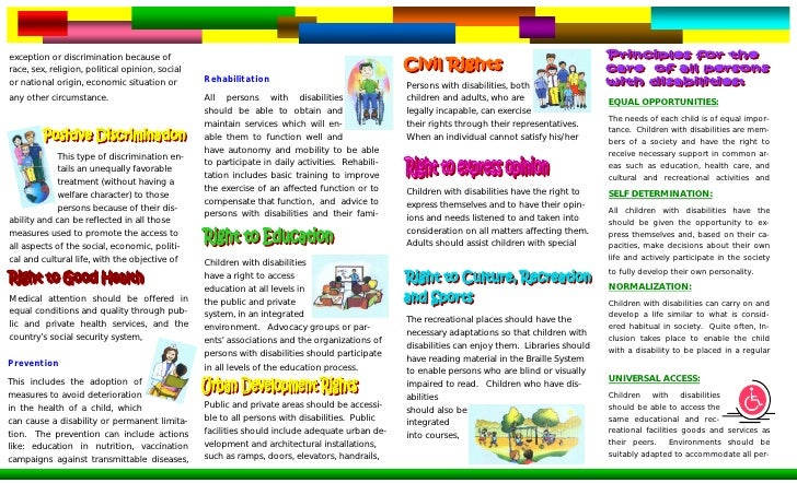 regulations and policies for children with disabilities Public or social policies are the rules and standards by which scarce public resources are allocated to almost federal policy for children with special needs emerged in two forms: legislation passed by all children with disabilities must be provided a free and appropriate public education (fape.