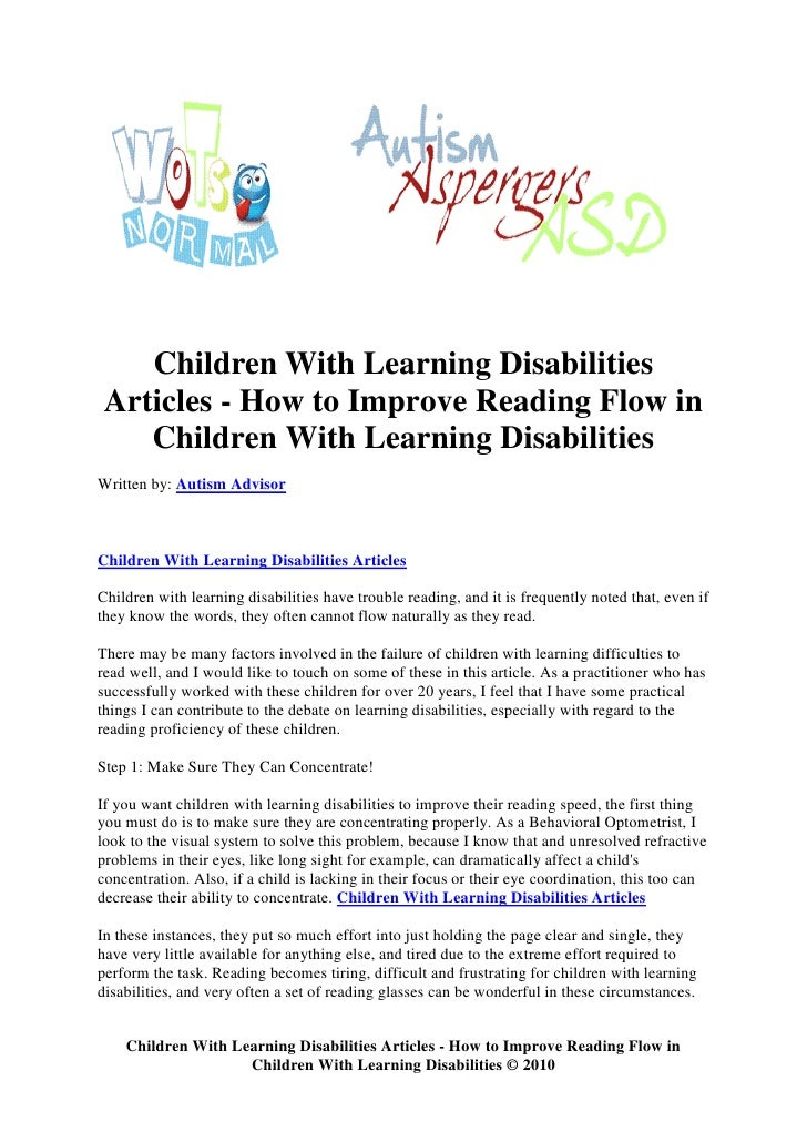 Children With Learning Disabilities  Articles - How to Improve Reading Flow in     Children With Learning Disabilities Wri...