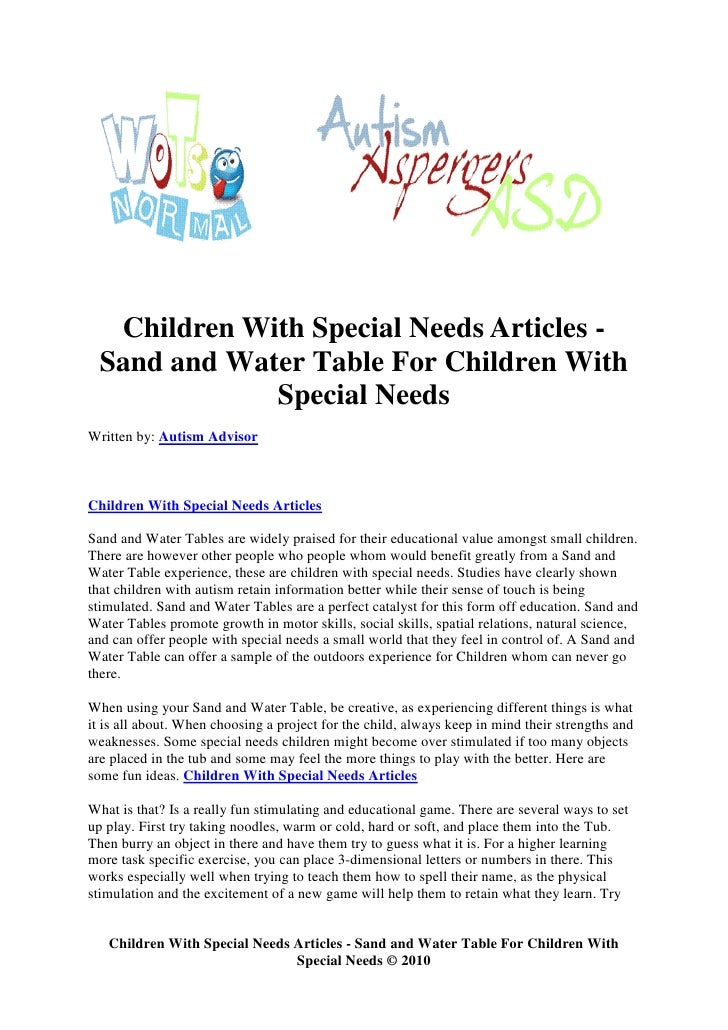 Children With Special Needs Articles -   Sand and Water Table For Children With               Special Needs Written by: Au...