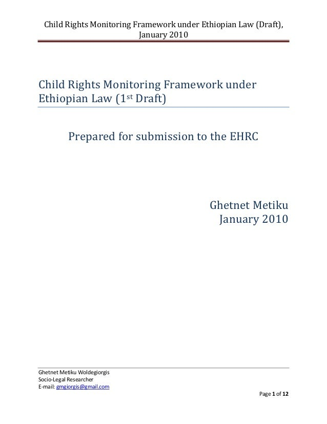 Child Rights Monitoring Framework under Ethiopian Law (Draft),                           January 2010Child Rights Monitori...