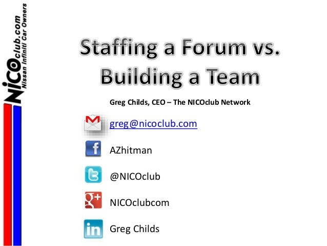 Greg Childs, CEO – The NICOclub Network greg@nicoclub.com AZhitman @NICOclub NICOclubcom Greg Childs