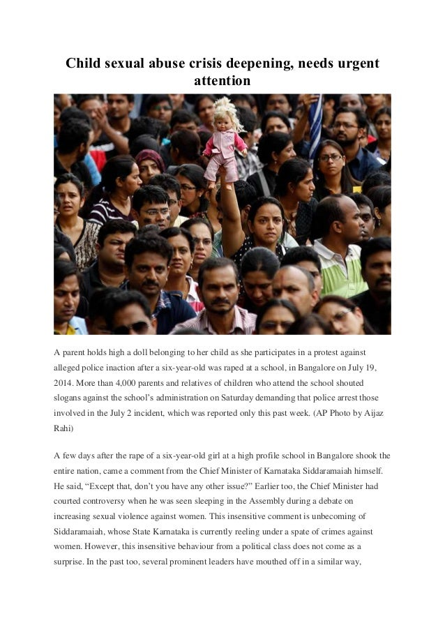 Child sexual abuse crisis deepening, needs urgent attention A parent holds high a doll belonging to her child as she parti...