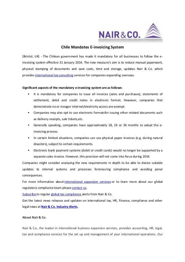 Chile Mandates E-invoicing System