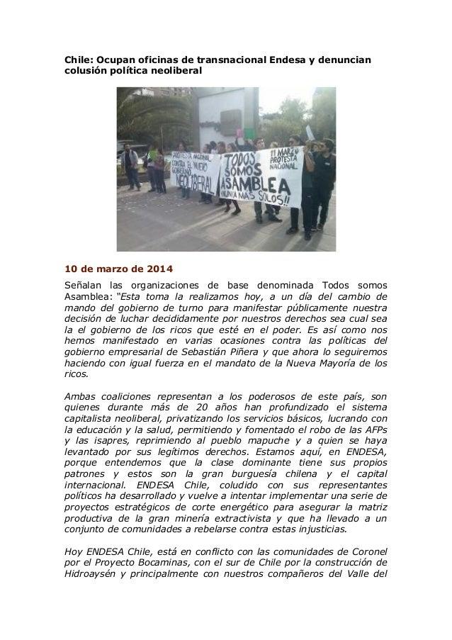 Chile: Ocupan oficinas de transnacional Endesa y denuncian colusión política neoliberal 10 de marzo de 2014 Señalan las or...