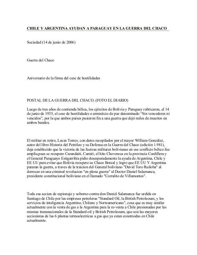 CHILE Y ARGENTINA AYUDAN A PARAGUAY EN LA GUERRA DEL CHACOSociedad (14 de junio de 2006)Guerra del ChacoAniversario de la ...