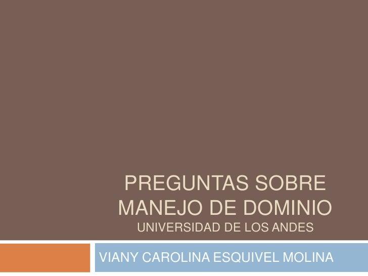 PREGUNTAS SOBRE MANEJO DE DOMINIOUNIVERSIDAD DE LOS ANDES<br />VIANY CAROLINA ESQUIVEL MOLINA<br />