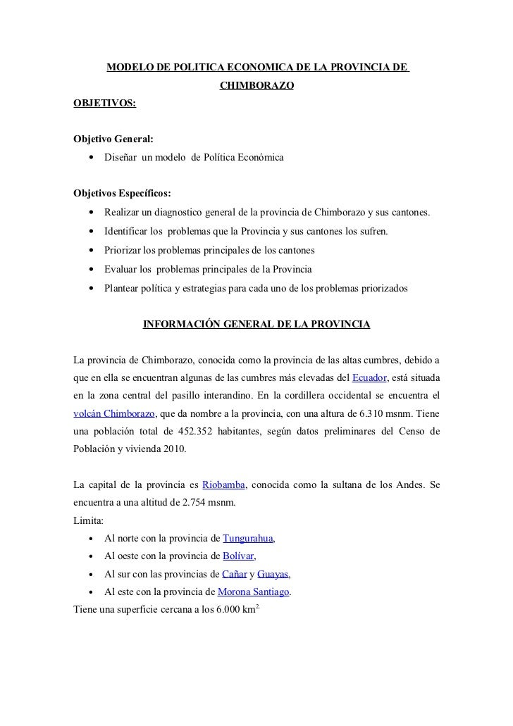 MODELO DE POLITICA ECONOMICA DE LA PROVINCIA DE                                      CHIMBORAZOOBJETIVOS:Objetivo General:...