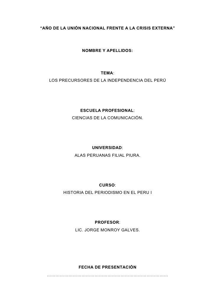 """""""AÑO DE LA UNIÓN NACIONAL FRENTE A LA CRISIS EXTERNA""""                     NOMBRE Y APELLIDOS:                             ..."""