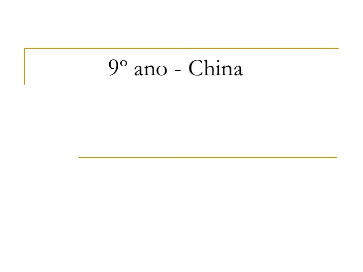 9º ano - China