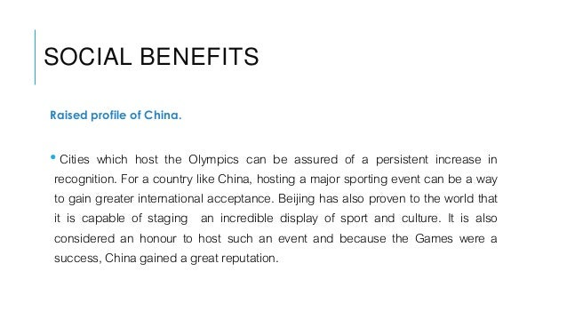 economic impacts of beijing olympic I think i ended up as forbes' business travel blogger because  director of the international center for olympic studies at the  (beijing summer games.