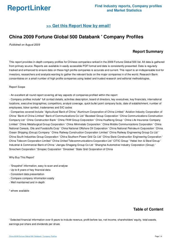 China 2009 Fortune Global 500 Databank ' Company Profiles