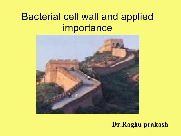 Bacterial cell wall and applied importance Dr.Raghu prakash