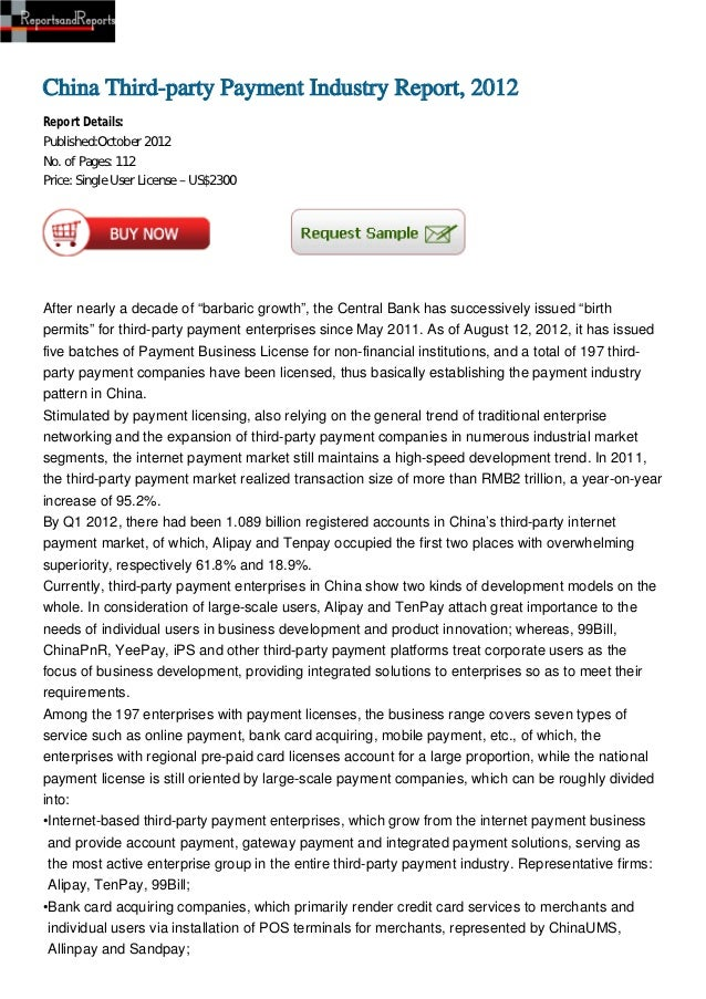 China Third-party Payment Industry Report, 2012Report Details:Published:October 2012No. of Pages: 112Price: Single User Li...