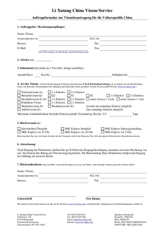 Li Xutang China Visum Service Auftragsformular zur Visumbeantragung für die Volksrepublik China Li Xutang China Visum Serv...