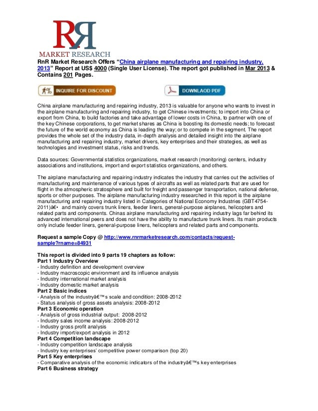 """RnR Market Research Offers """"China airplane manufacturing and repairing industry,2013"""" Report at US$ 4000 (Single User Lice..."""