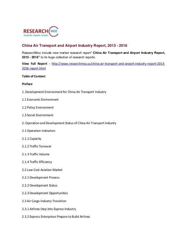 "China Air Transport and Airport Industry Report, 2013 - 2016 ResearchMoz include new market research report"" China Air Tra..."
