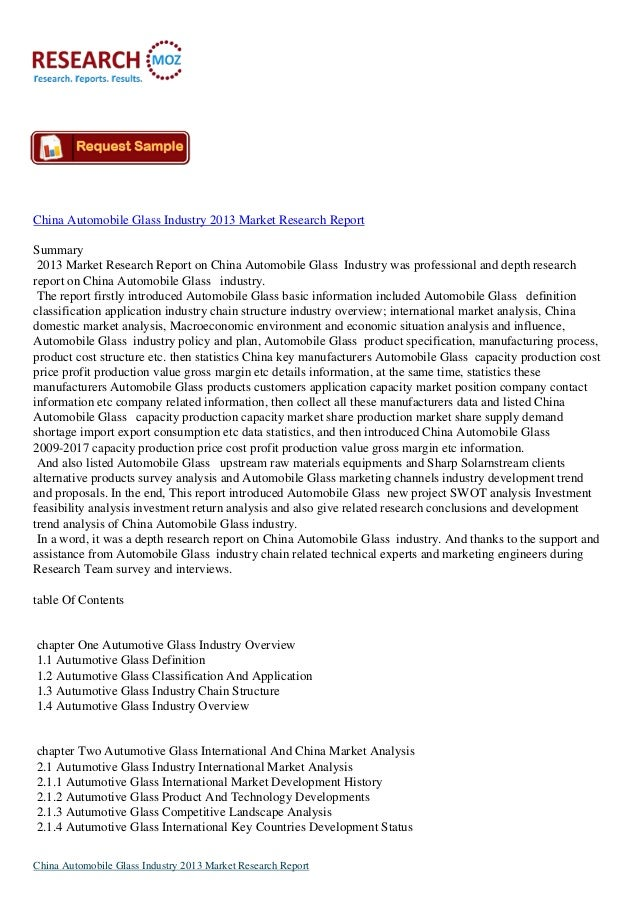 China Automobile Glass Industry 2013 Market Research Report Summary 2013 Market Research Report on China Automobile Glass ...