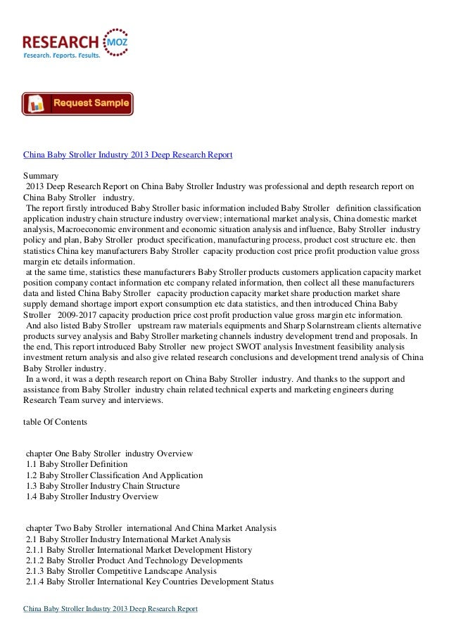 China Baby Stroller Industry 2013 Deep Research ReportSummary2013 Deep Research Report on China Baby Stroller Industry was...