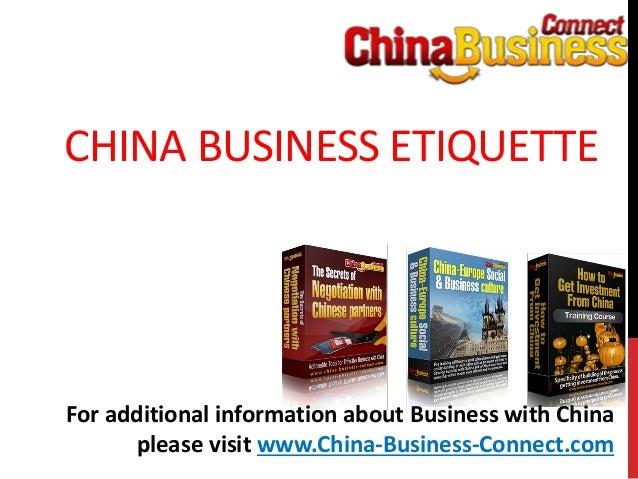 China business etiquette