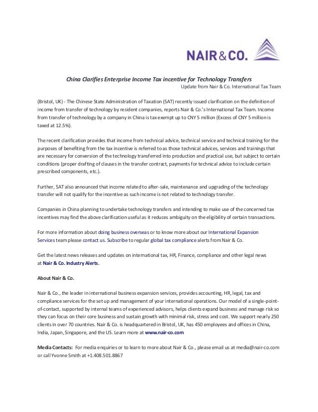 China Clarifies Enterprise Income Tax incentive for Technology Transfers Update from Nair & Co. International Tax Team (Br...