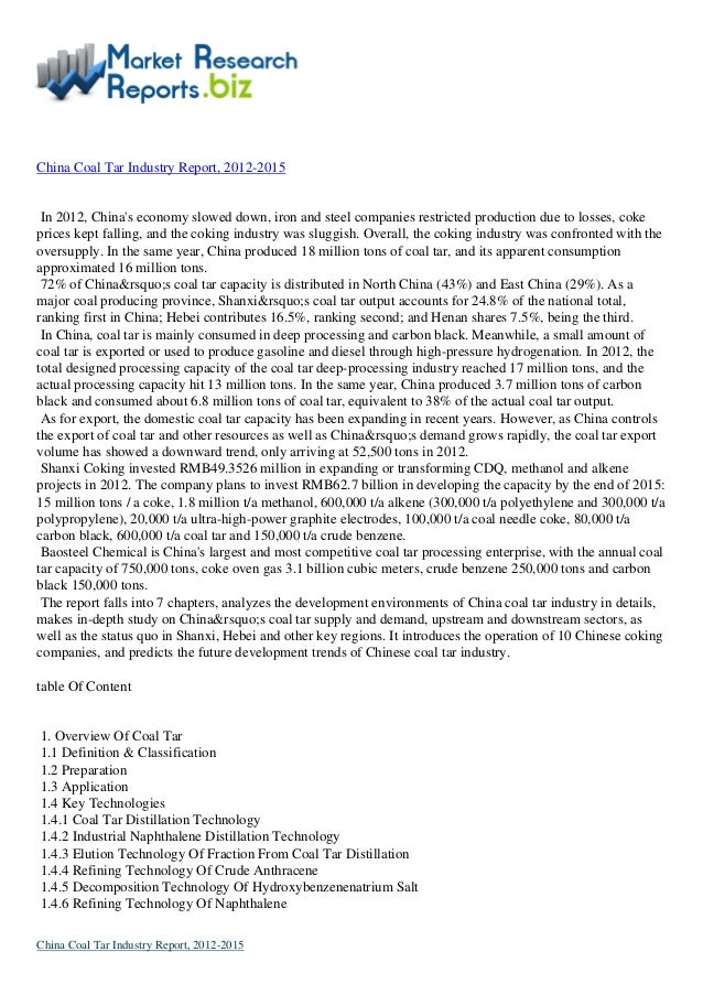 Industrial Report:-China coal tar industry report, 2012 2015 by MarketResearchReports.biz