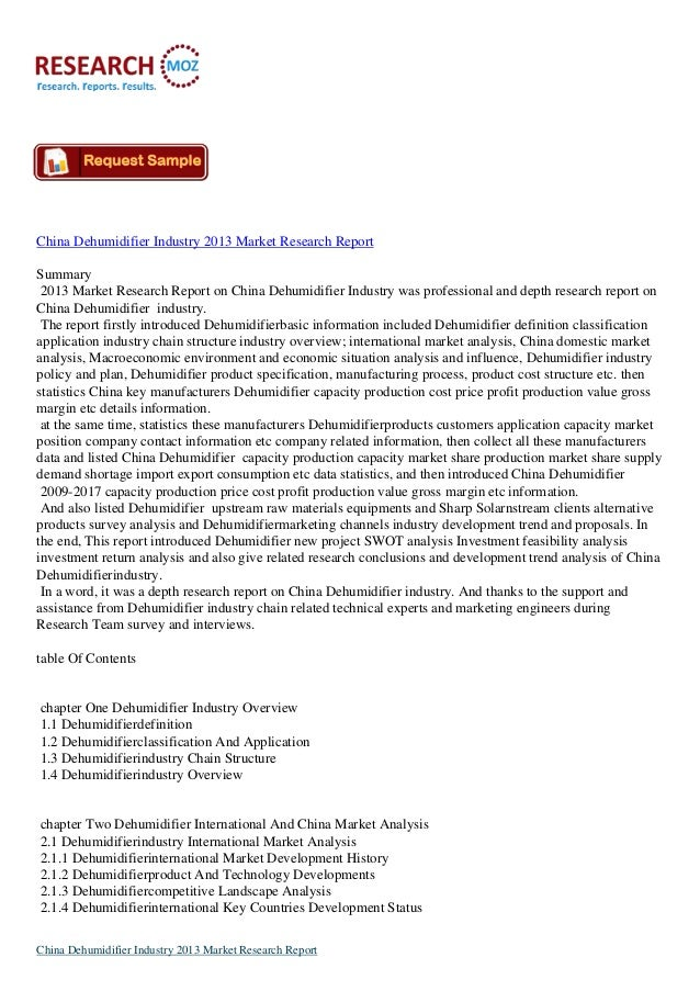 China Dehumidifier Industry Trends 2013 Available on Researchmoz.us