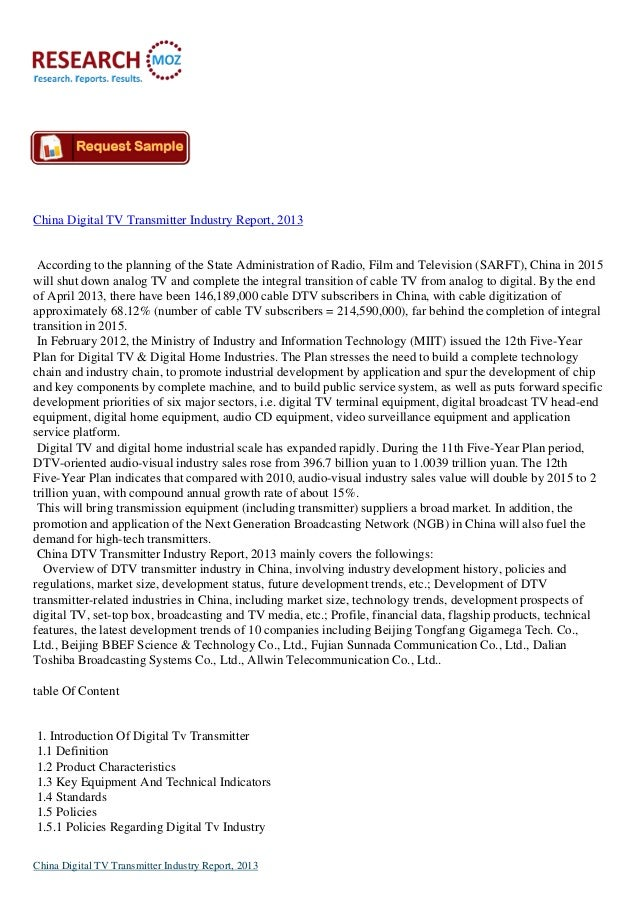 China Digital TV Transmitter Industry Report, 2013  According to the planning of the State Administration of Radio, Film a...