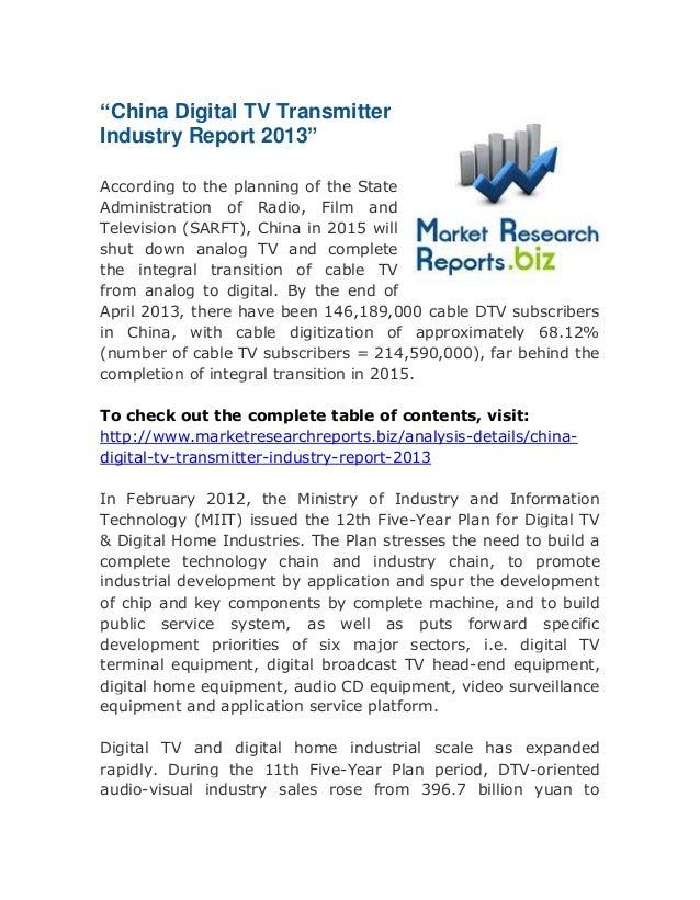 """China digital tv transmitter industry report 2013"" Global Survey Report:"