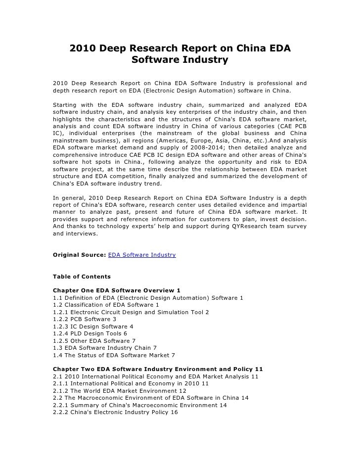 2010 Deep Research Report on China EDA               Software Industry2010 Deep Research Report on China EDA Software Indu...