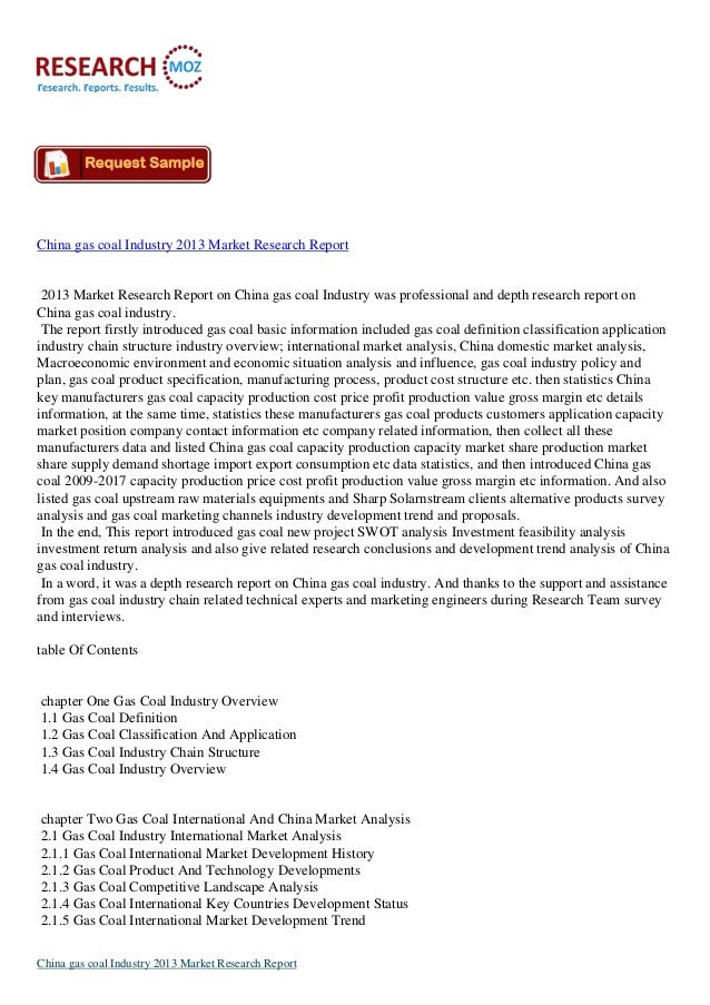 China gas coal Industry 2013 Market Research Report 2013 Market Research Report on China gas coal Industry was professiona...