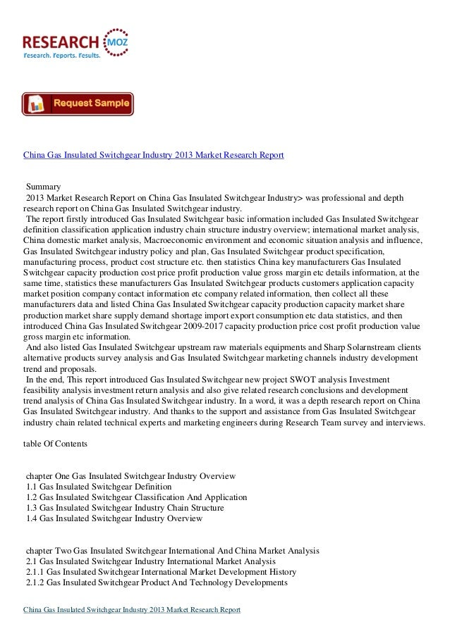 China Gas Insulated Switchgear Industry 2013 Market Research Report Summary 2013 Market Research Report on China Gas Insul...