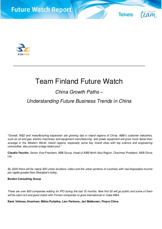 China growth paths, Team Finland Future Watch Report 2014