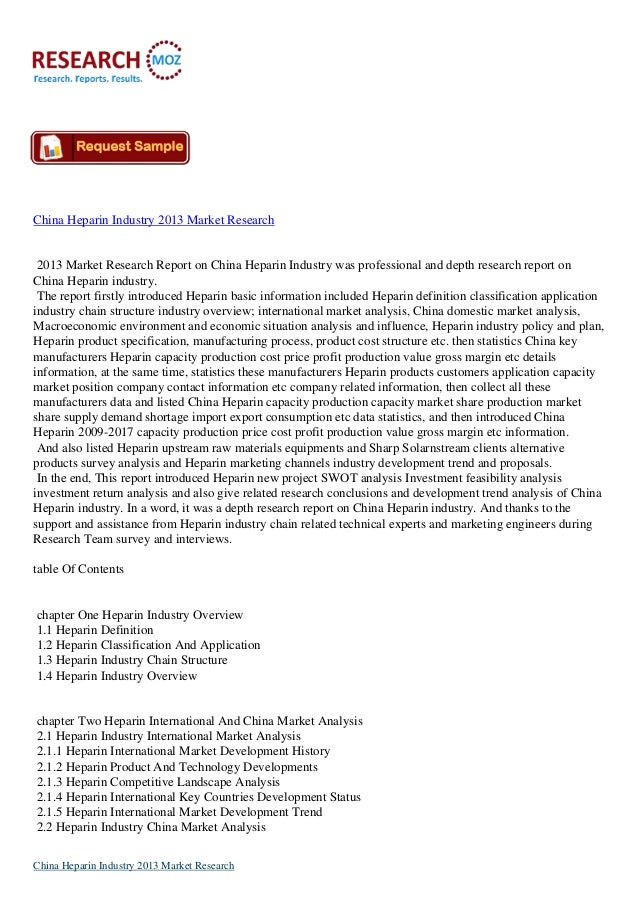China Heparin Industry 2013 Market Research 2013 Market Research Report on China Heparin Industry was professional and dep...