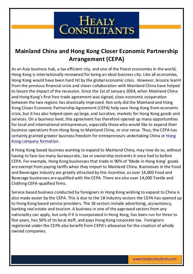 Mainland China and Hong Kong Closer Economic Partnership Arrangement (CEPA) As an Asia bu...