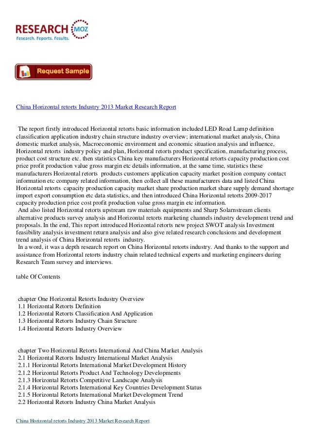 China Horizontal Retorts Industry 2013 New Market Research Report